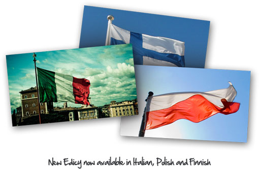 New Edicy now available in Italian, Polish and Finnish